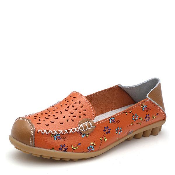 Vrouwen Kunstleer Flat Heel Flats Closed Toe met Hol-out schoenen