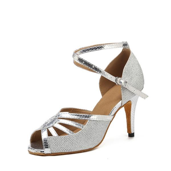 De mujer Brillo Chispeante Tacones Sandalias Danza latina con Agujereado Zapatos de danza