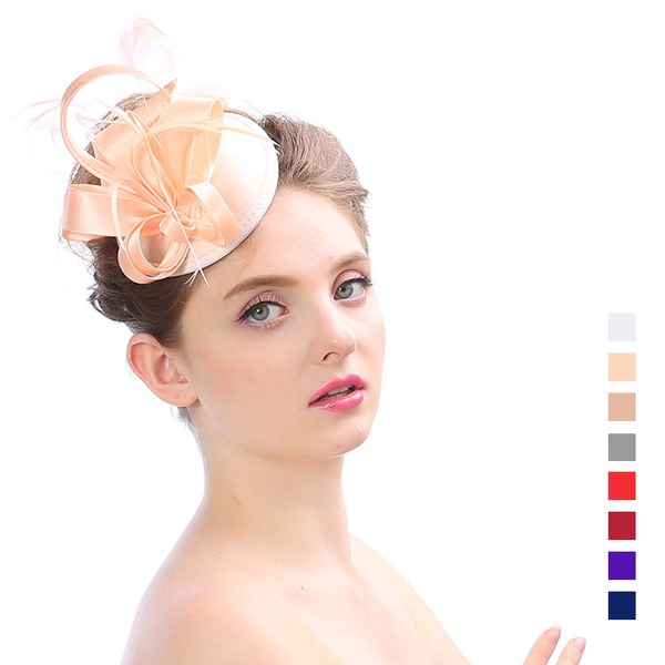 Ladies ' Elegant Organzastof med Fjer Fascinators
