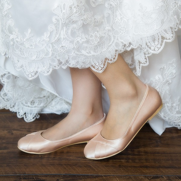 Femmes Satiné Talon plat Bout fermé Chaussures plates