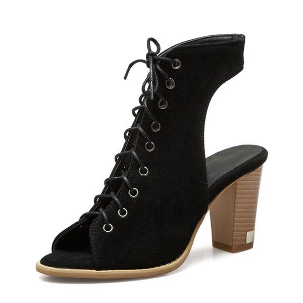 Vrouwen Suede Chunky Heel Sandalen Pumps Peep Toe Slingbacks met Vastrijgen schoenen