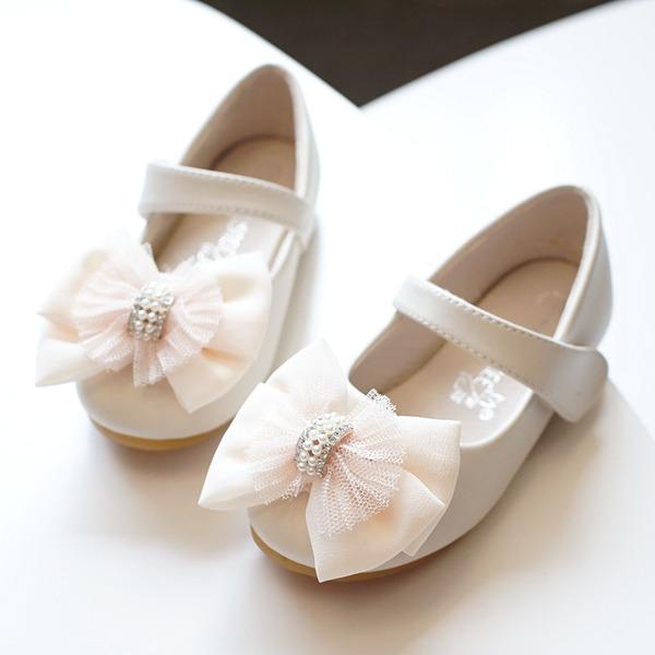 Pigens Round Toe Lukket Tå Microfiber Læder Flad Hæl Fladsko Flower Girl Shoes med Bowknot Velcro