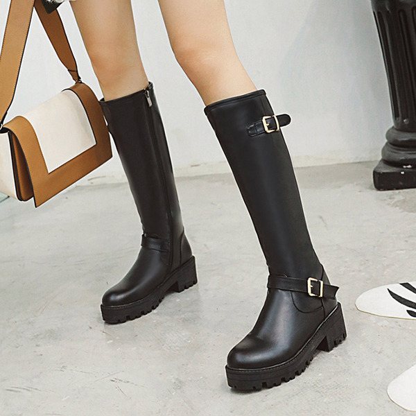 Women's PU Chunky Heel Platform Boots Knee High Boots With Buckle Zipper shoes