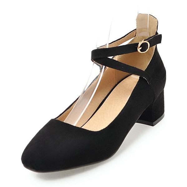 Frauen Veloursleder Niederiger Absatz Geschlossene Zehe mit Schnalle Schuhe