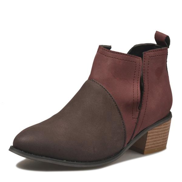 Женщины PU Устойчивый каблук Закрытый мыс обувь