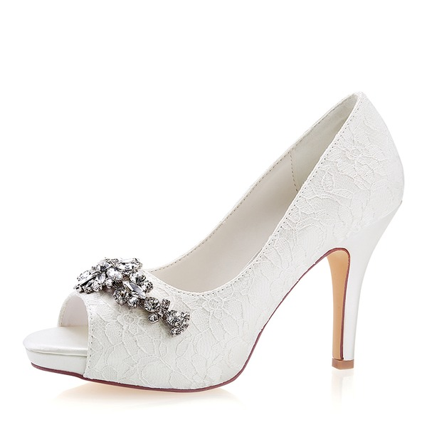 Women's Lace Silk Like Satin Stiletto Heel Peep Toe Platform Pumps With Crystal