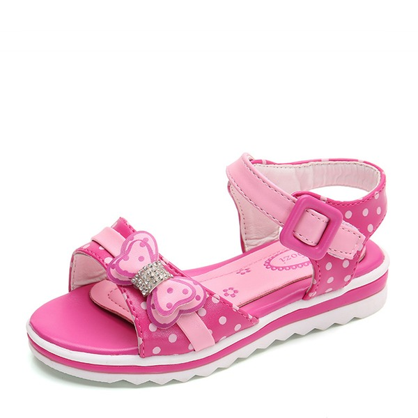 Jentas Lukket Tå Leather flat Heel Sandaler Flate sko Flower Girl Shoes med Bowknot