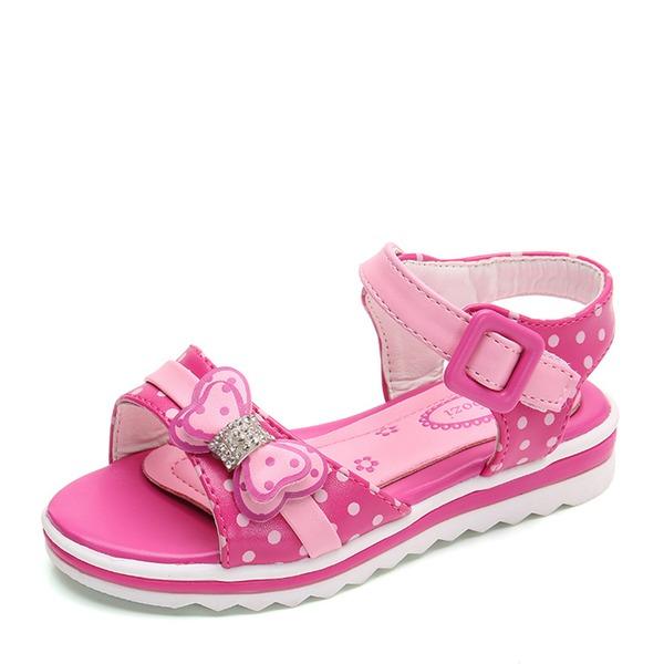 Fille de Bout fermé similicuir talon plat Sandales Chaussures plates Chaussures de fille de fleur avec Bowknot