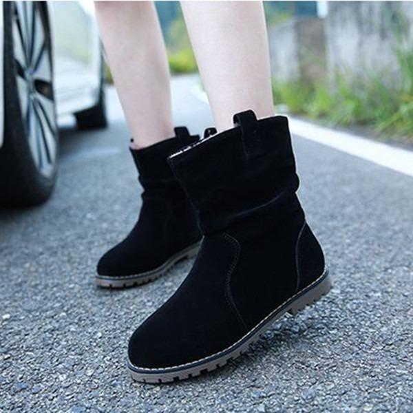 Женщины Замша Плоский каблук На плокой подошве Ботинки Зимние сапоги с Рябь обувь