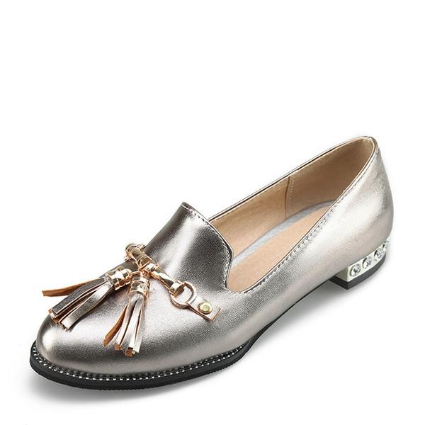Women's PVC Flat Heel Flats Closed Toe With Chain Tassel shoes