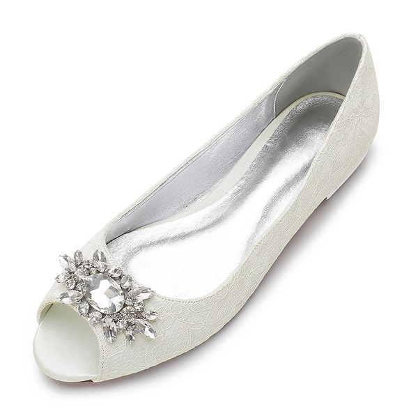 Women's Lace Silk Like Satin Flat Heel Flats Peep Toe With Rhinestone