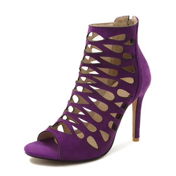 Vrouwen Suede Stiletto Heel Sandalen Pumps Peep Toe met Rits schoenen