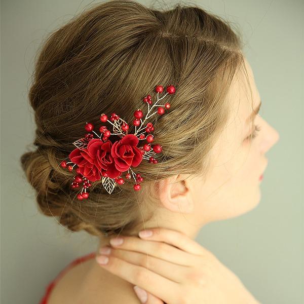 Dámy Nádherný Silk Flower Jehlice do vlasů S Venetian Pearl (Prodává se jako jeden kus)