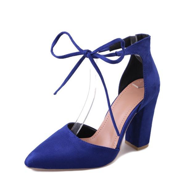 Naisten Mokkanahka Chunky heel Avokkaat Suljettu toe jossa Nauhakenkä kengät