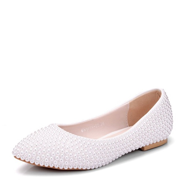 Women's Leatherette Flat Heel Closed Toe Flats With Pearl
