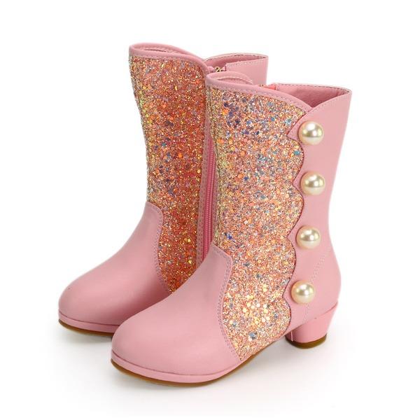 Girl's Half-Kuit Laarzen imitatieleer Flat Heel Laarzen Bloemenmeisje schoenen met Imitatie Parel Lovertje Rits