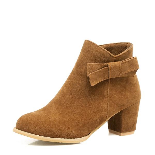 Kvinner Semsket Stor Hæl Pumps Støvler Ankelstøvler med Bowknot Glidelås sko