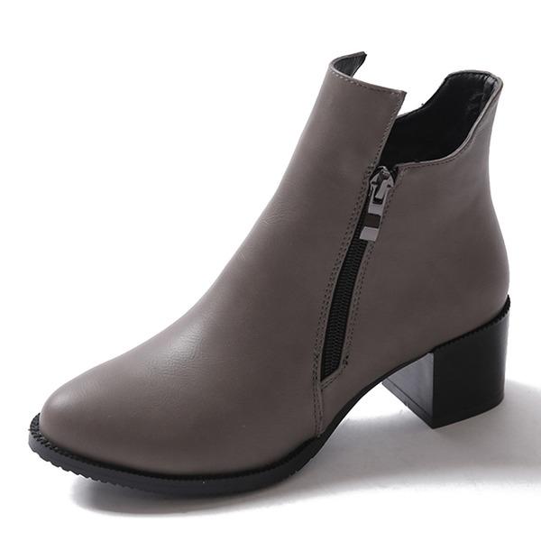Naisten PU Chunky heel Avokkaat Kengät Nilkkurit jossa Vetoketju kengät