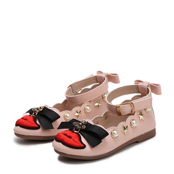 Fille de similicuir talon plat bout rond Chaussures plates avec Bowknot Perle d'imitation Strass Velcro