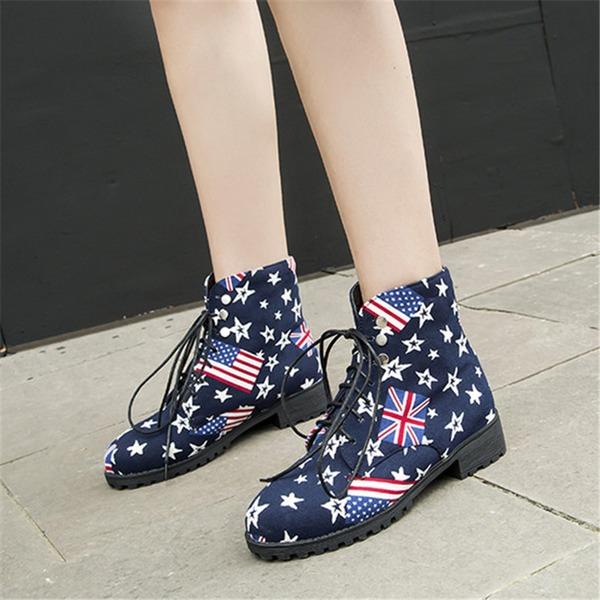 Frauen Leinwand Flascher Absatz Flache Schuhe Stiefel أحذية