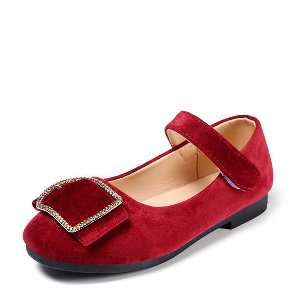 Muchacha Punta Cerrada Ballet plano Wildleder Talón plano Zapatos de niña de las flores con Rhinestone Velcro