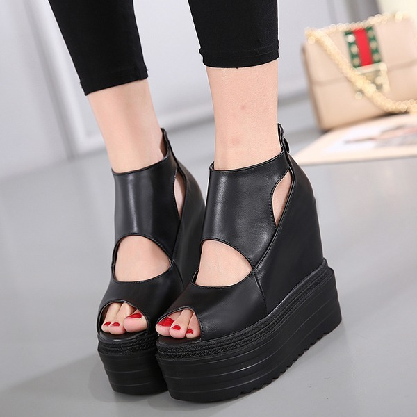 Women's Leatherette Flats Peep Toe With Zipper Hollow-out shoes