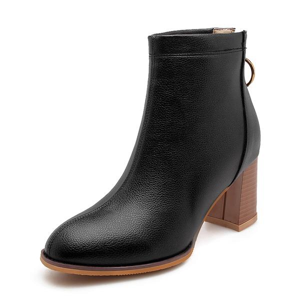 De mujer Cuero Tacón ancho Salón Botas Botas al tobillo con Cremallera zapatos