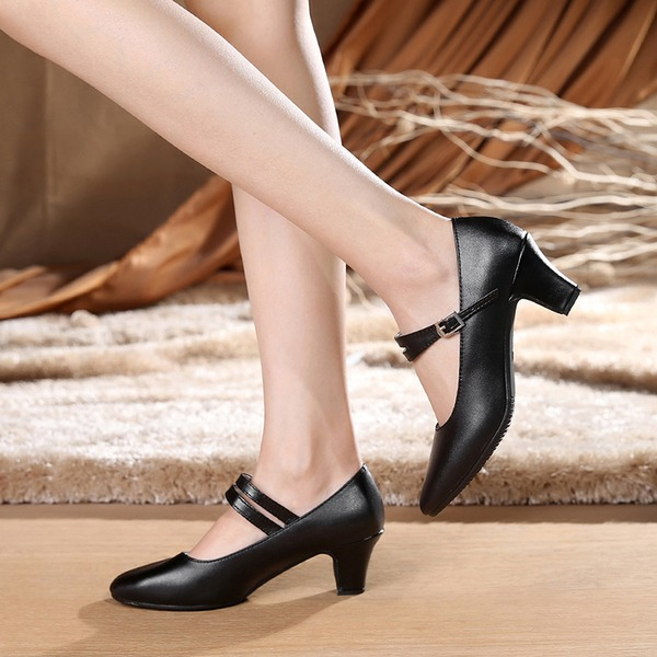 Women's Real Leather Heels Pumps Ballroom Character Shoes Dance Shoes