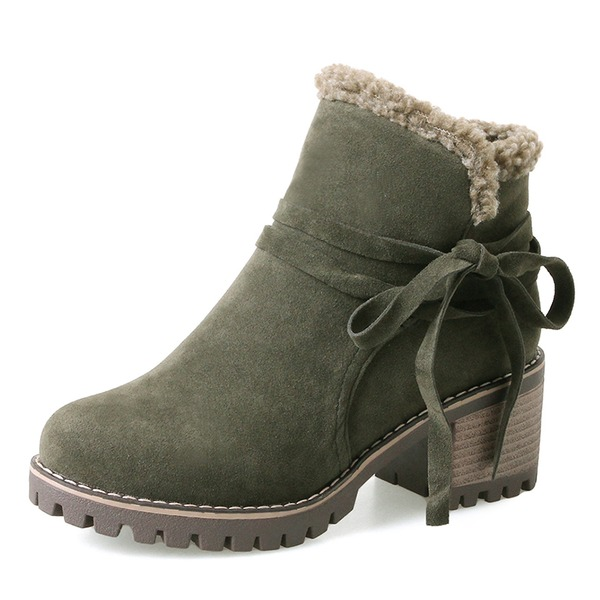 Women's Suede Chunky Heel Pumps Boots Ankle Boots Snow Boots With Lace-up shoes