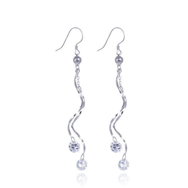 Ladies' Sparking 925 Sterling Silver With Diamond Cubic Zirconia Earrings For Bridesmaid/For Friends