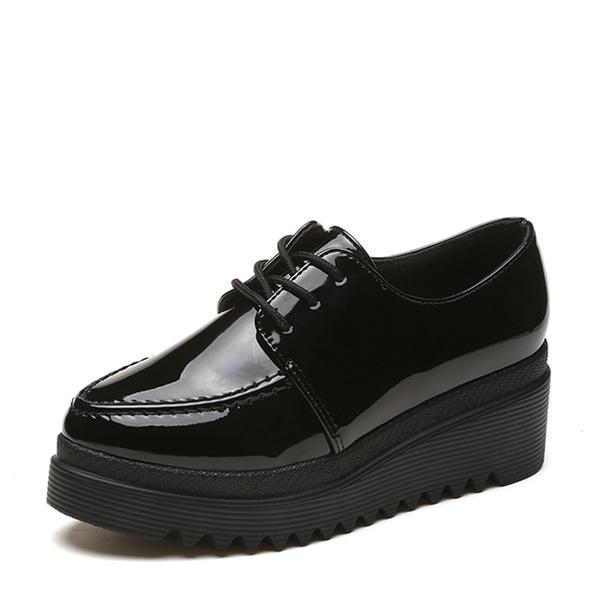 Frauen Lackleder Keil Absatz Plateauschuh Keile mit Zuschnüren Schuhe