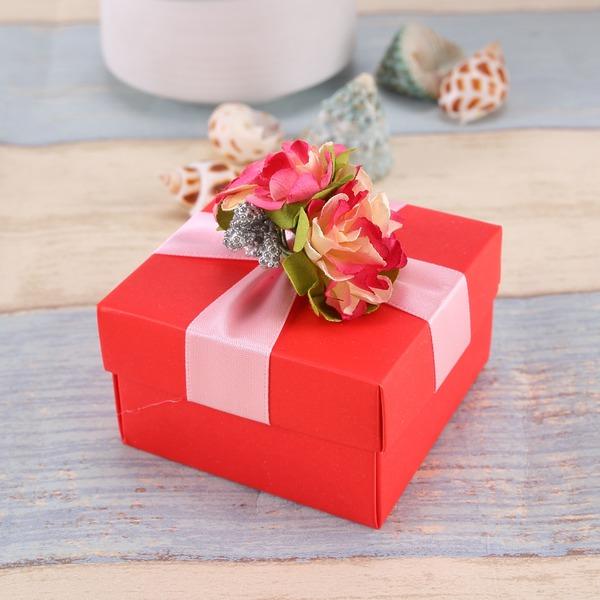 Design de fleur Cubique Boîtes cadeaux avec Fleur(s) (Lot de 12)