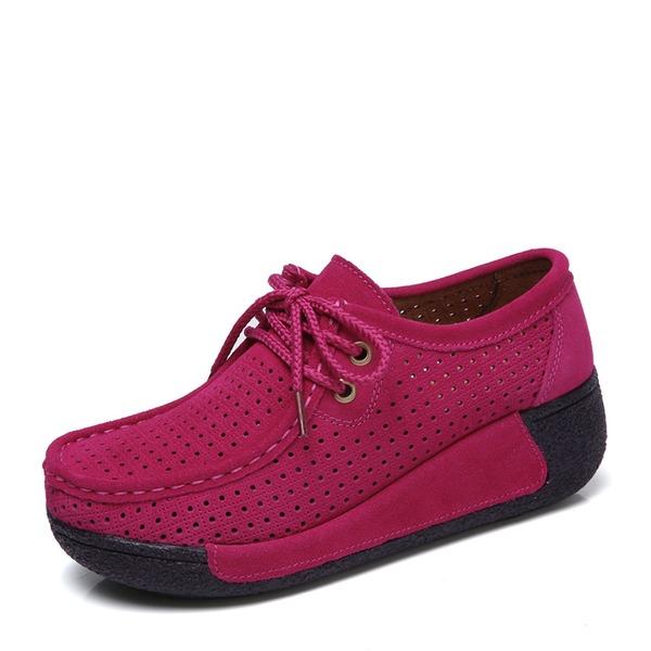 Kadın Süet Dolgu Topuk Platform Kapalı Toe Takozlar Ile Bağcıklı ayakkabı