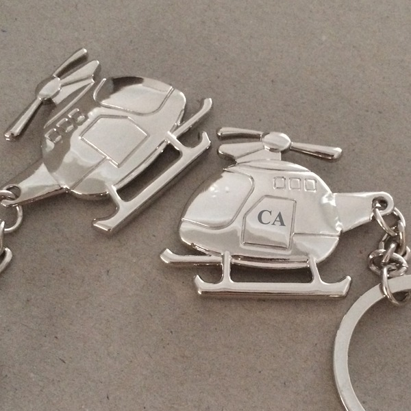 Personalized Helicopter shaped Stainless Steel/Zinc Alloy Keychains (Set of 4) (5 letters or less)