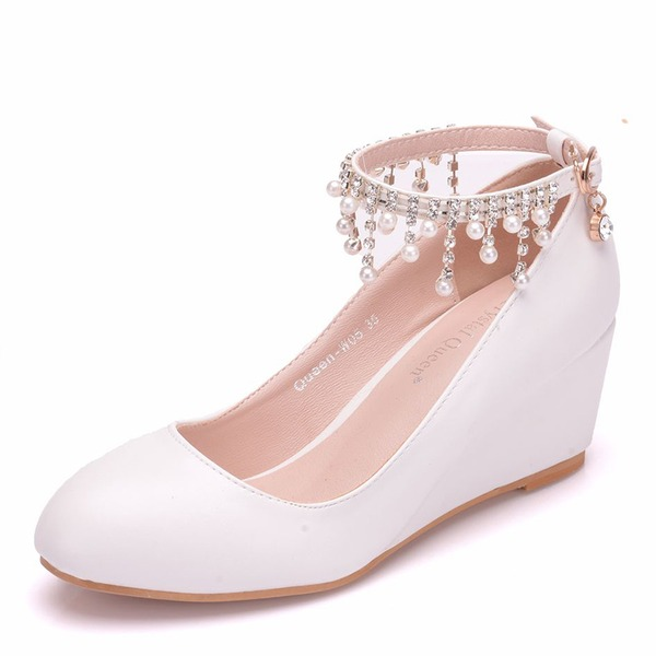 Women's Leatherette Wedge Heel Closed Toe Pumps With Tassel