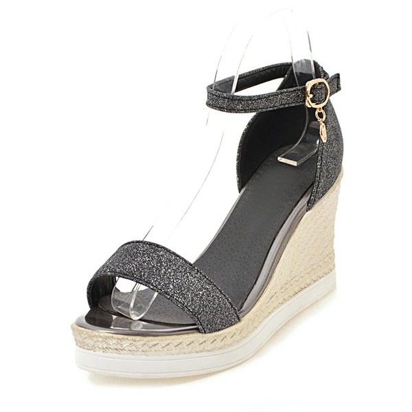 Frauen Funkelnde Glitzer Keil Absatz Sandalen Keile Peep Toe mit Schnalle Schuhe