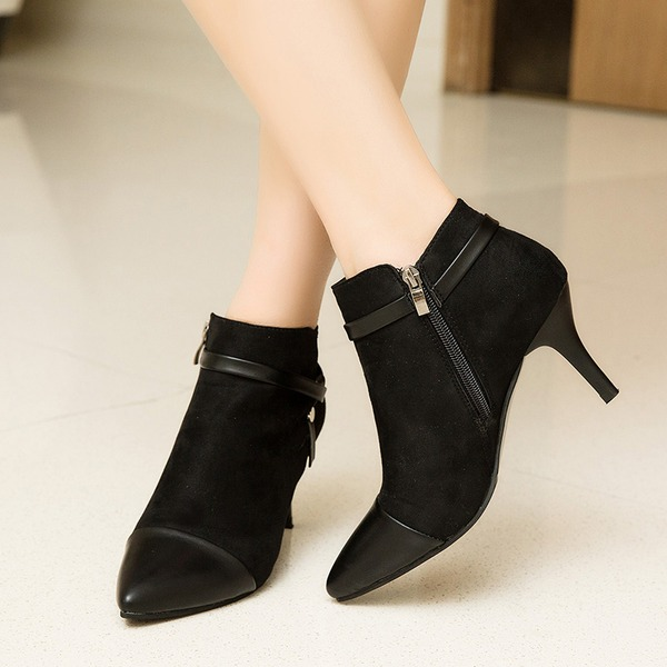 Women's Leatherette Stiletto Heel Closed Toe Boots Ankle Boots shoes