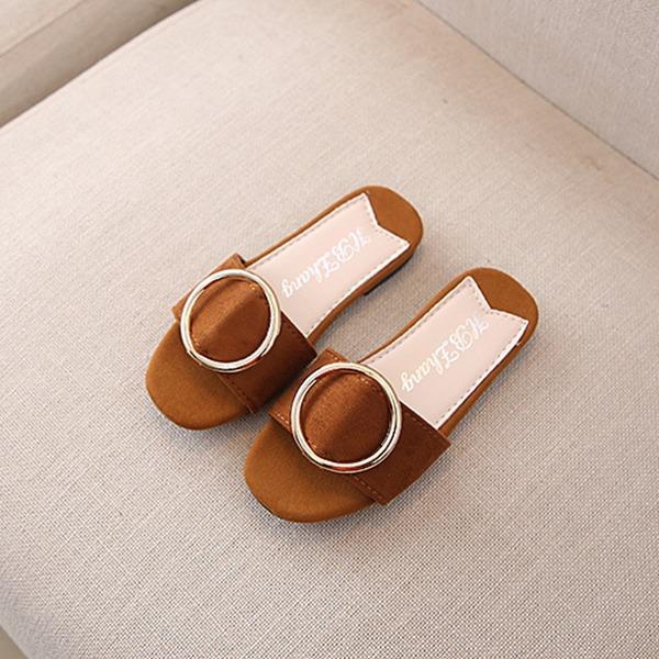 Fille de À bout ouvert similicuir Glitter mousseux Chaussures plates Chaussons avec Boucle