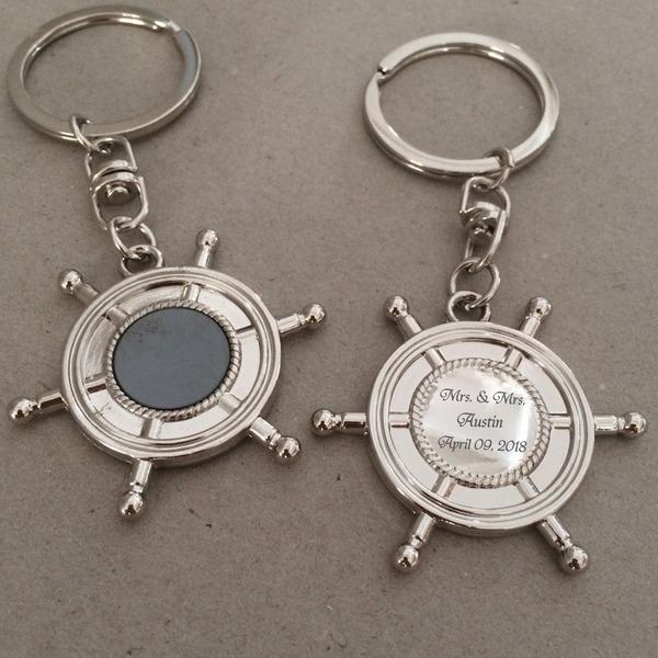 Personalizado Ancla azul Acero inoxidable/Aleación de zinc Llaveros (Juego de 4)