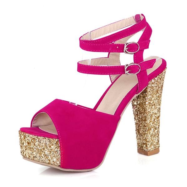 Naisten Mokkanahka Chunky heel Sandaalit Avokkaat Platform jossa Solki kengät