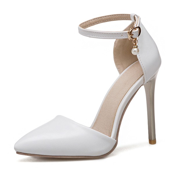 Femmes PU Talon stiletto Sandales Escarpins Bout fermé avec Boucle chaussures