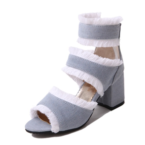 Donna Tessuto Tacco spesso Sandalo Stiletto con Altrui scarpe