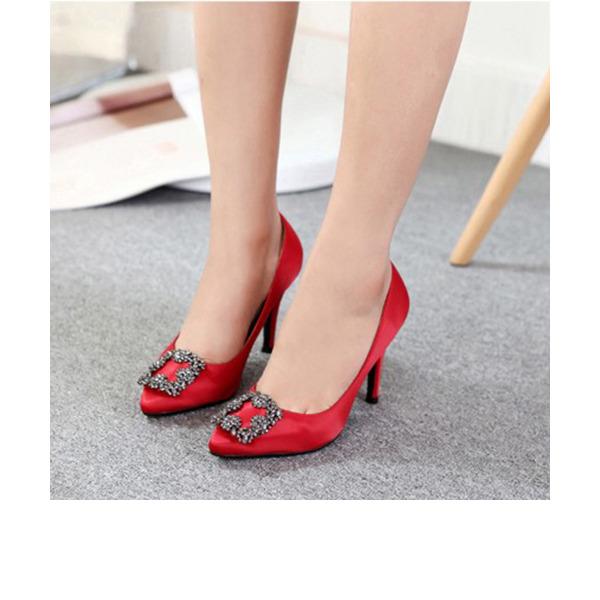 Women's Silk Like Satin Stiletto Heel Pumps Closed Toe With Rhinestone shoes