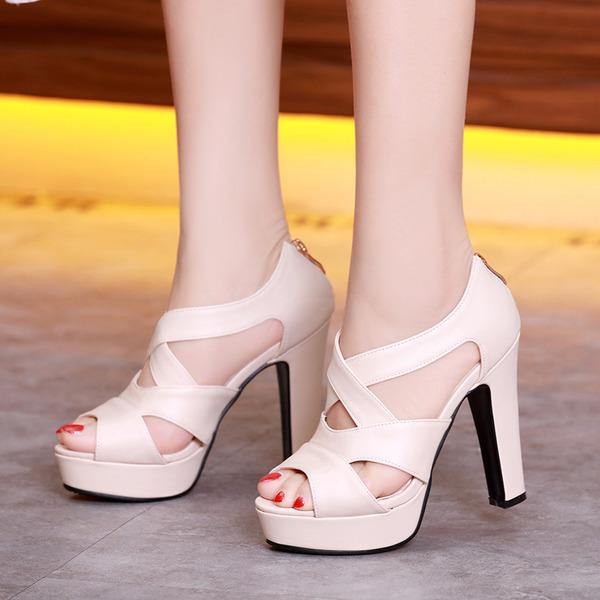 Vrouwen Kunstleer Stiletto Heel Sandalen Plateau Peep Toe schoenen