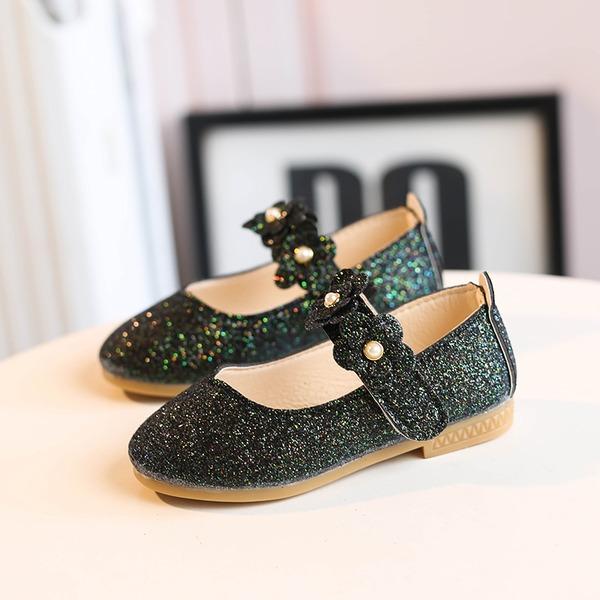 Flicka rund tå Stängt Toe sparkling blänker platt Heel Platta Skor / Fritidsskor Flower Girl Shoes med Kardborre Blomma