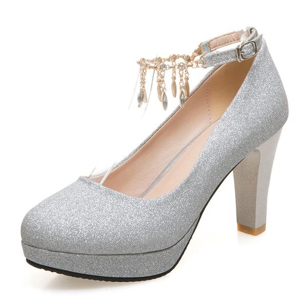 Femmes Pailletes scintillantes Talon bottier Escarpins Plateforme Bout fermé avec Strass Tassel chaussures