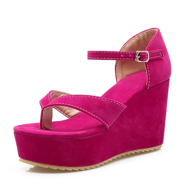 Women's Suede Wedge Heel Pumps Wedges With Buckle shoes