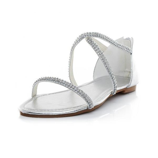 Kvinner Lær Flat Hæl Flate sko Sandaler med Rhinestone