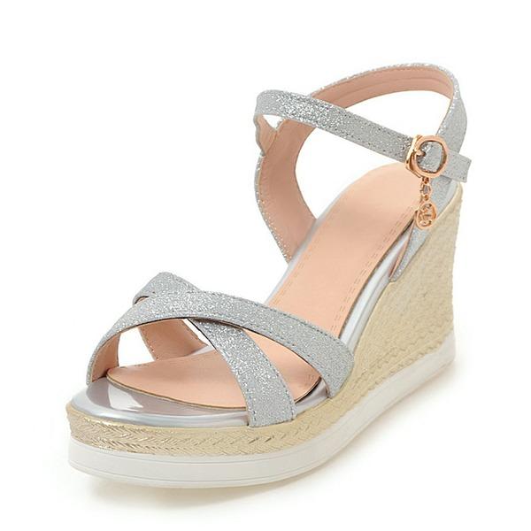 Mulheres Espumante Glitter Plataforma Sandálias Calços Peep toe Sapatos abertos com Fivela sapatos
