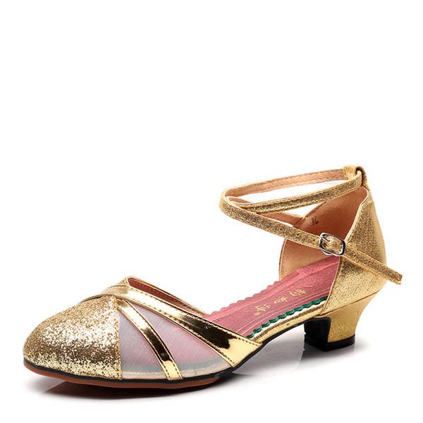 Women's Leatherette Mesh Flats Ballroom Dance Shoes